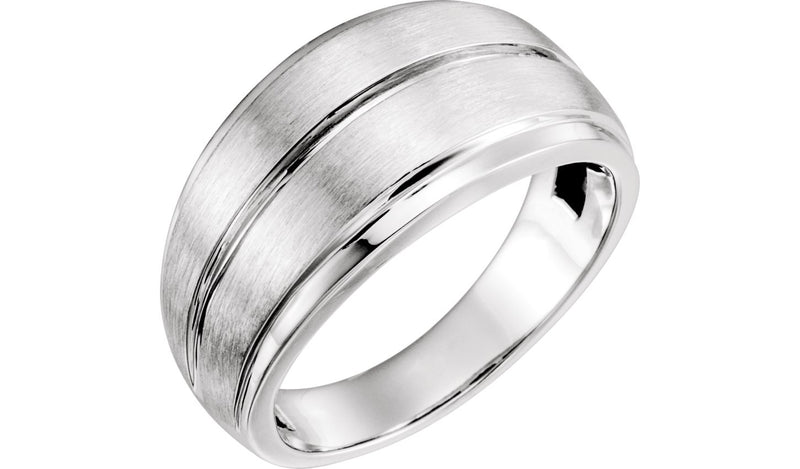 14K White Men's Grooved Ring