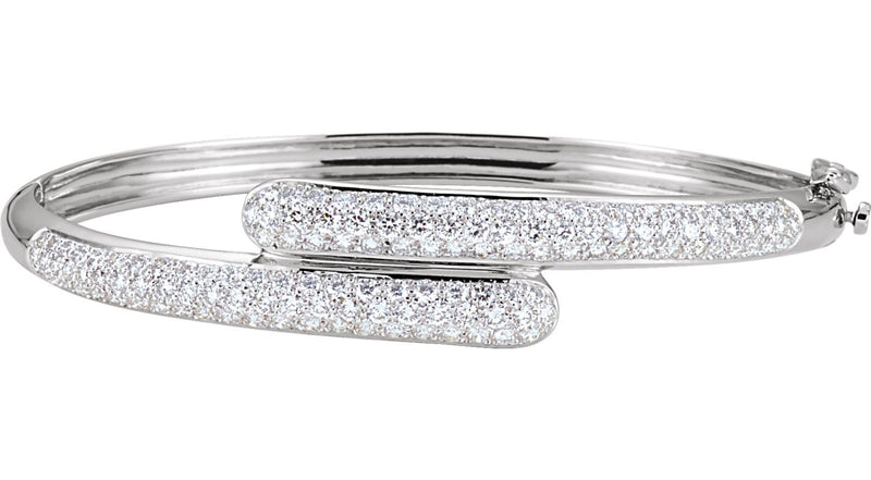 14K White Gold 3 CTW Diamond Bangle Bracelet