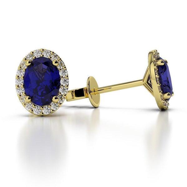 4.80 carats CEYLON SAPPHIRE with diamonds Studs earring Yellow gold