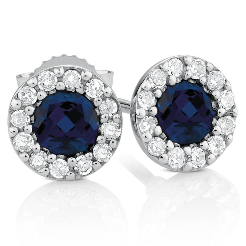 BLUE CEYLON SAPPHIRE with diamond stud earring gold 14K