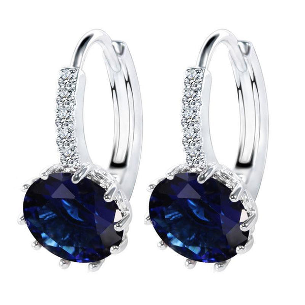 SRI LANKA SAPPHIRE Round cut diamond lady hoop earring gold - THE LUSTRO HUT