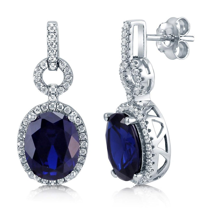 SRI LANKA SAPPHIRE 5.5 Ct oval cut  with diamond dangle earring