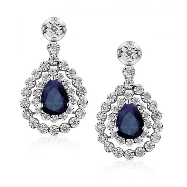 SRI LANKA SAPPHIRE and diamond dangle earring Pear cut  5.5 ct