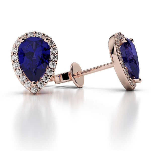 5.50 carats SRI LANKA SAPPHIRE diamonds Lady studs earrings - THE LUSTRO HUT