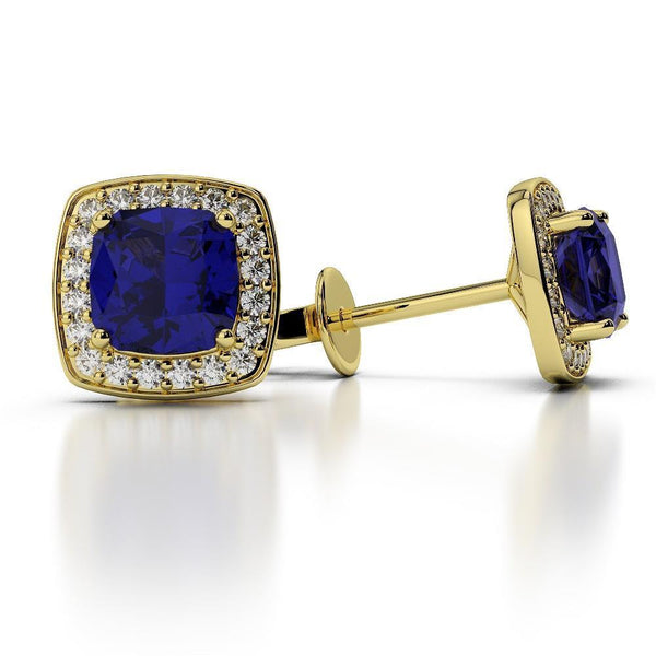 SRI LANKA SAPPHIRE diamonds Studs lady gold earrings