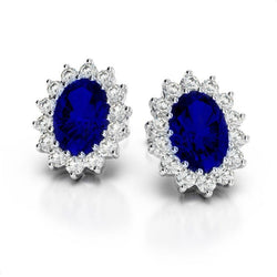 Diamonds ladies studs earring pair SRI LANKA BLUE SAPPHIRE