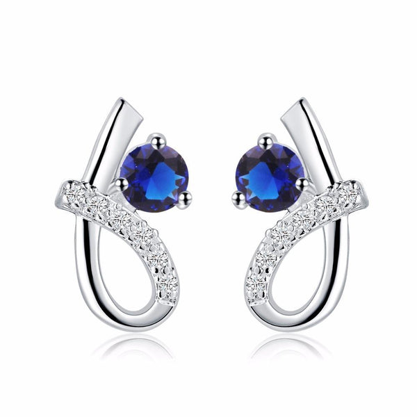 CEYLON SAPPHIRE Round cut diamond stud earring white gold