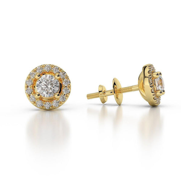 Yellow gold brilliant cut round diamonds Studs earrings 14k 3.40 Ct