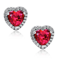 Heart shape red ruby and diamond stud lady earring pair 14K GOLD