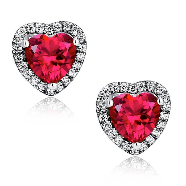 Heart shape red ruby and diamond stud lady earring pair 14K GOLD - THE LUSTRO HUT