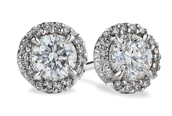 14k white gold 4.60 Carats round cut sparkling diamonds Studs earring - THE LUSTRO HUT