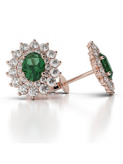 Flower style  emerald and diamonds studs earrings gold 14k 5.50 ct