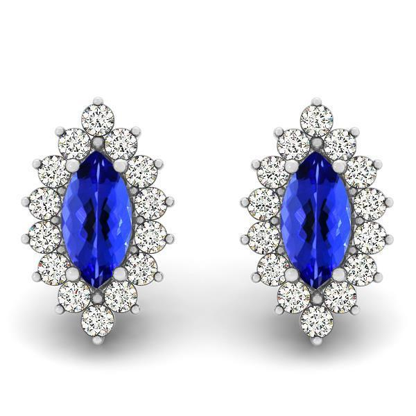 Prong set tanzanite with Studs diamonds earrings wg 14k 4.70 Carats