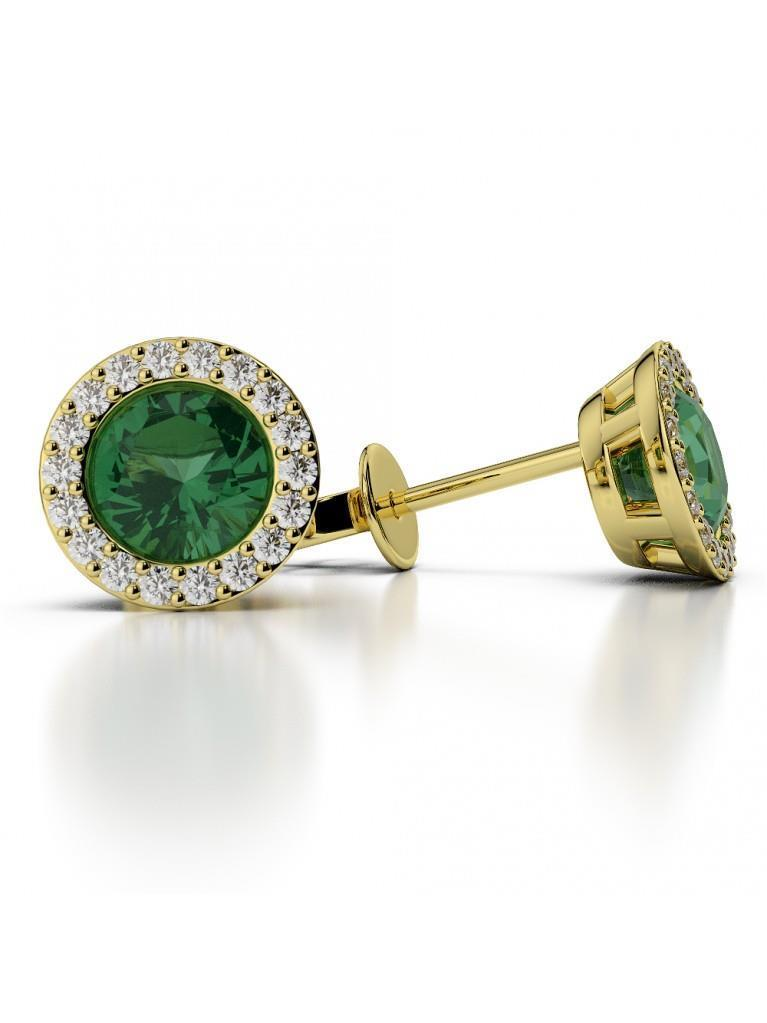 Brilliant cut emerald with diamonds Studs earrings Yellow  5.20 Ct
