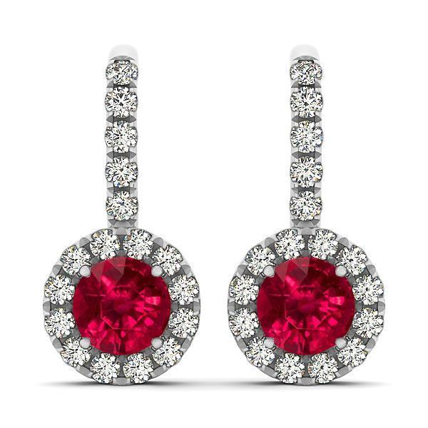 Lady dangle diamonds Round cut earrings 5.60 and carats ruby WG 14k
