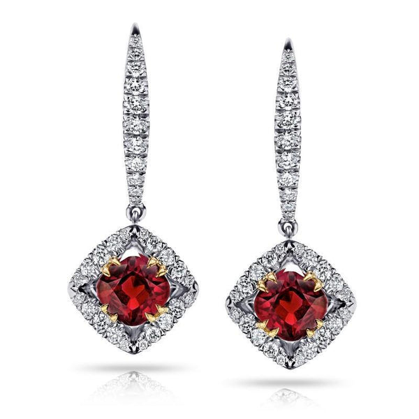 Dangle diamonds and Two tone gold 14k ruby earrings new 4.20 carats - THE LUSTRO HUT