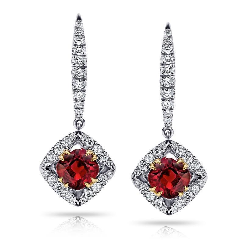 Dangle diamonds and Two tone gold 14k ruby earrings new 4.20 carats
