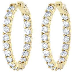 Sparkling diamonds HOOP earrings 4.68 Carats out in gold yellow 14k