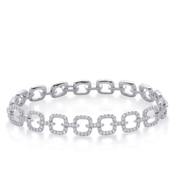 Sparkling diamond ladies 2.20 carats bracelet fine white gold 14K