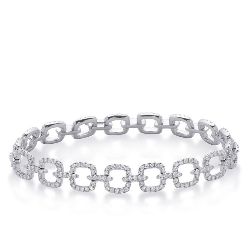 Sparkling diamond ladies 2.20 carats bracelet fine white gold 14K - THE LUSTRO HUT
