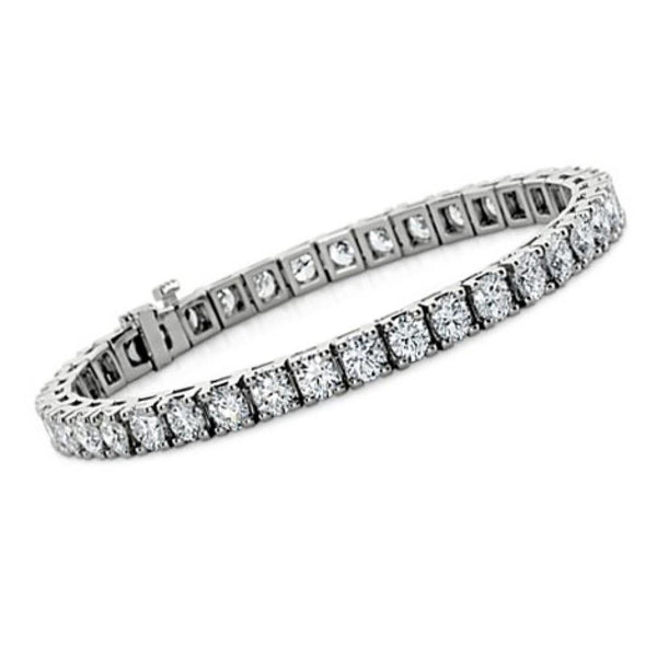 Diamond tennis women bracelet solid white gold 14k 5.25 ct round cut