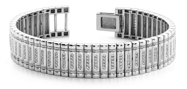 Diamonds MENS bracelet gold white 14k Small F/G VS2/SI 4.85 Carats - THE LUSTRO HUT