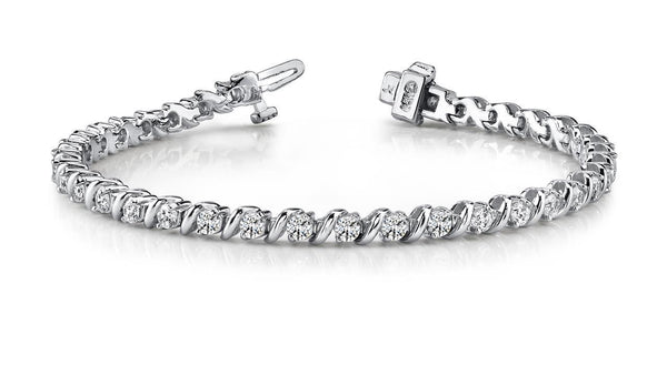 Diamonds wavy hood link tennis bracelet white gold 14k new 8.75 ct