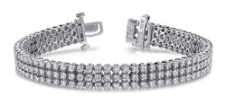 Sparkling round diamonds triple strand bracelet white gold 14k 18 Ct - THE LUSTRO HUT