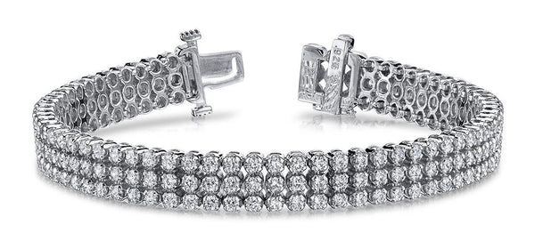 Sparkling round diamonds triple strand bracelet white gold 14k 18 Ct