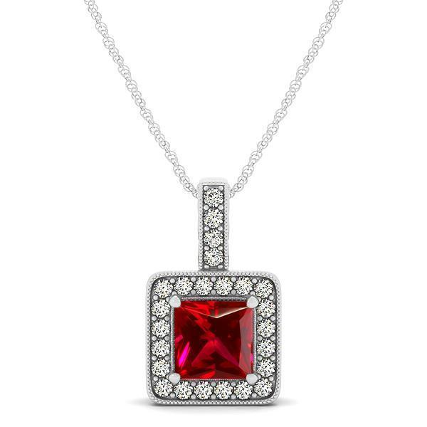 2.60 Carats ruby and diamonds pendant necklace White gold 14k