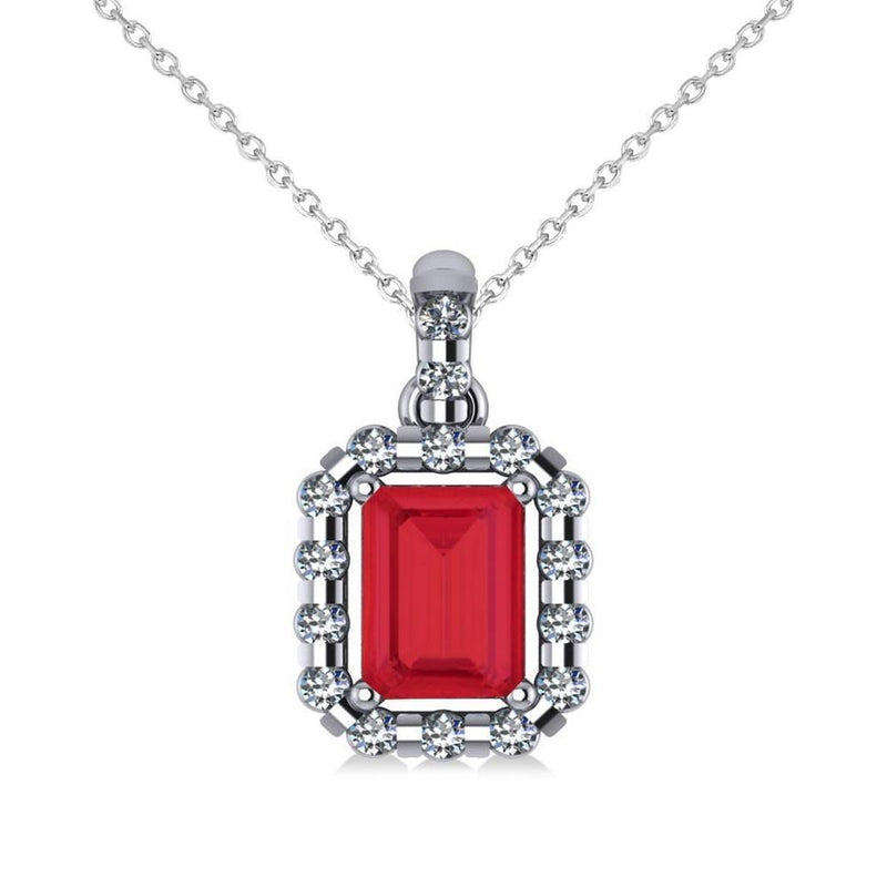 Pendant necklace 14k Emerald cut ruby with round diamonds 5.60 ct