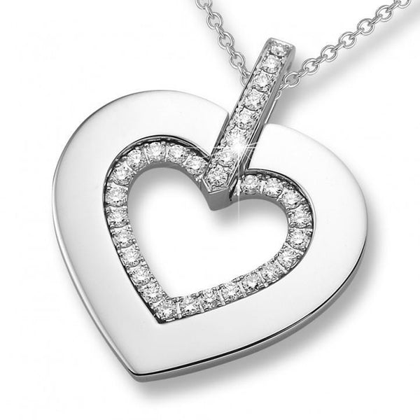 White gold 14K heart cut pendant necklace 1.60 carat round cut diamonds