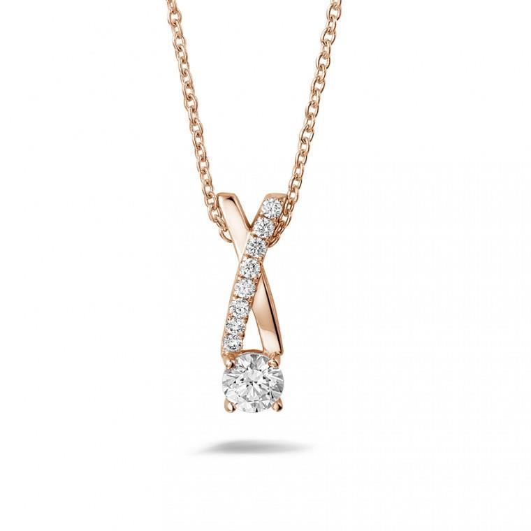 Rose gold 14k 1.85 carats diamonds pendant necklace with chain new