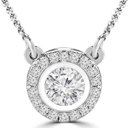 Fancy & round 4.5 carats diamonds pendant necklace jewelry white Gold 14k