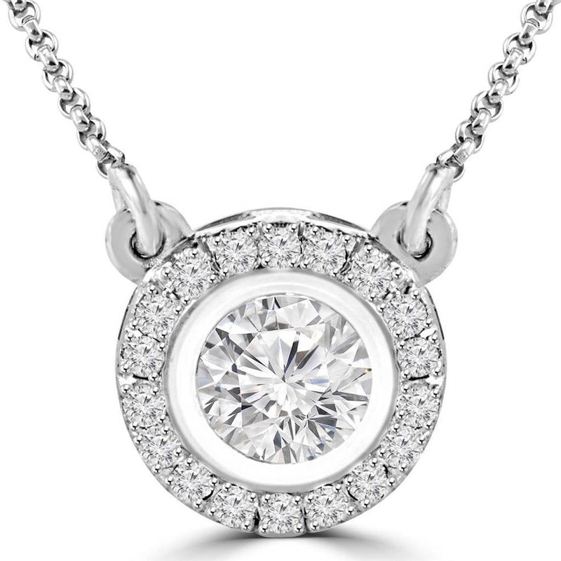 Fancy & round 4.5 carats diamonds pendant necklace jewelry white Gold 14k - THE LUSTRO HUT
