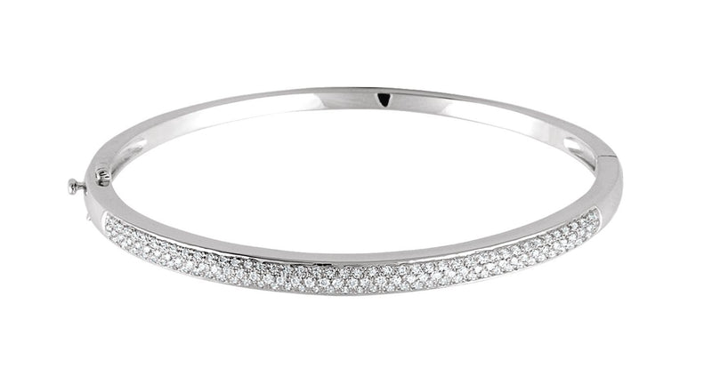 14K White Gold 1 CTW Diamond Pave' Bracelet