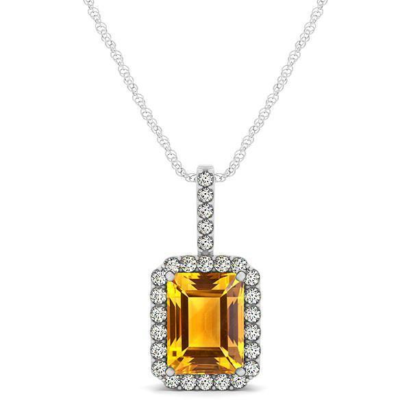 Prong set pendant necklace diamonds citrine 15 ct  white gold 14k jewelry