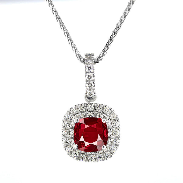 Lady white gold 14K red AAA cushion shaped ruby 4.00 carats diamond pendant