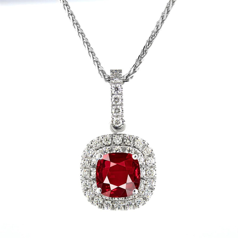Lady white gold 14K red AAA cushion shaped ruby 4.00 carats diamond pendant - THE LUSTRO HUT