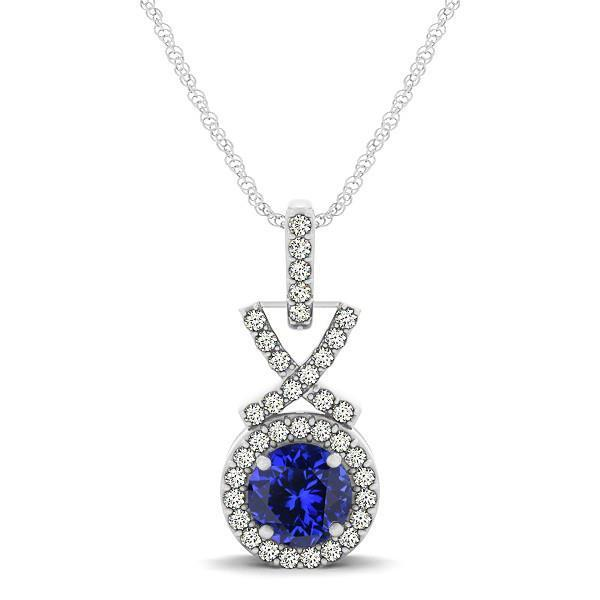 Tanzanite with diamonds pendant necklace white gold 14k 3.00 Ct jewelry