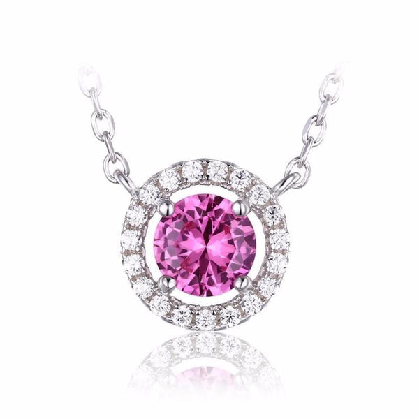 White gold 14K pink sapphire with round cut 2.50 carats diamonds pendant necklace
