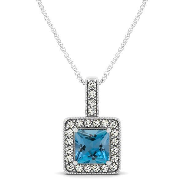 White gold 14k aquamarine and chain diamonds pendant 4.75 ct jewelry