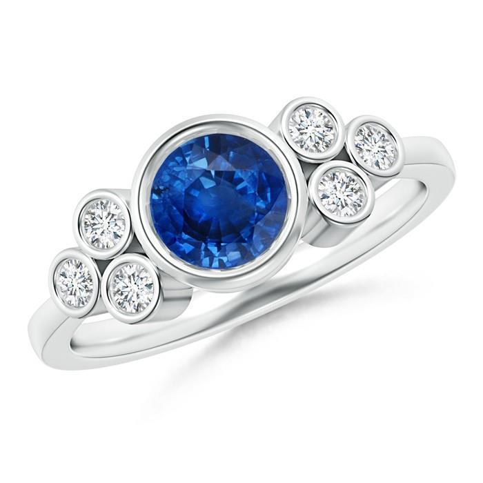White gold 14k bezel set ceylon sapphire and round brilliant cut 2.70 carat diamond wedding ring