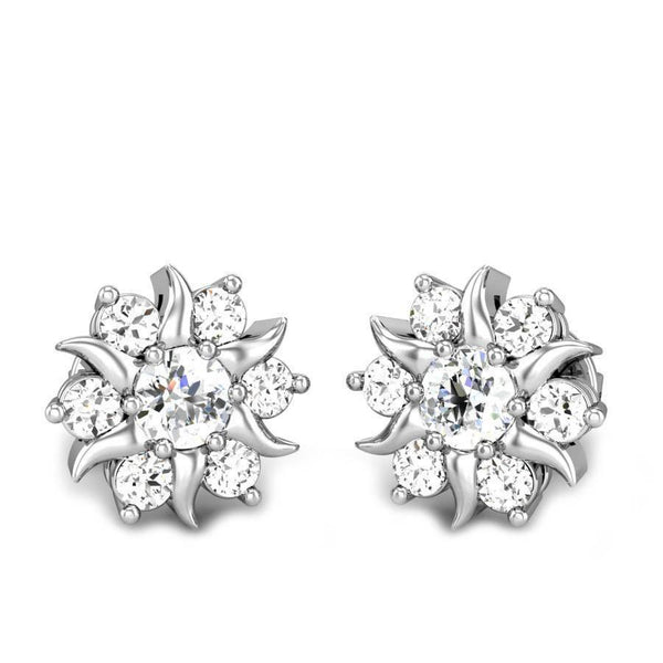 Diamonds flower style studs earrings gorgeous round cut 3.40 ct