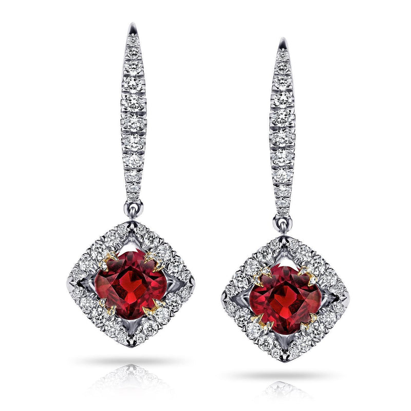 Red ruby and diamonds 4.50 carats ladies dangle earrings gold 14k