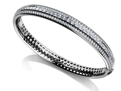 White gold 14k 6.5 Carats princess and round cut diamond bangle solid