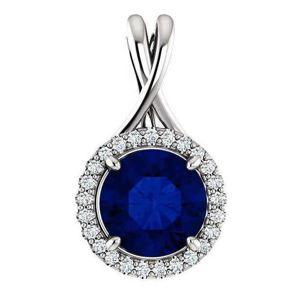 Pendant necklace 3.25 ct white gold Big CEYLON SAPPHIRE and diamonds