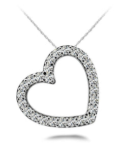 White gold 14K round cut 5.20 carats diamonds heart shaped pendant necklace