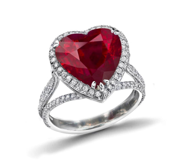 White gold 14K heart cut 7.75 carats red ruby diamond wedding ring
