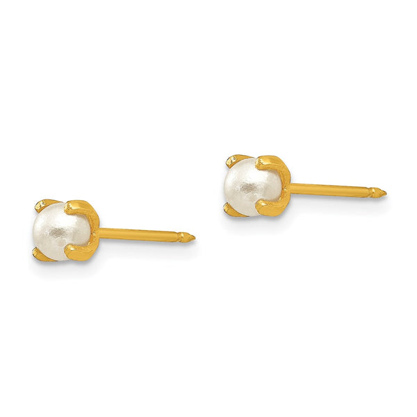 Inverness 14k 4mm Simulated Pearl Earrings